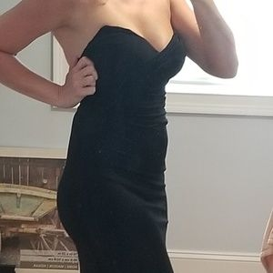 Womens black tie full length gown